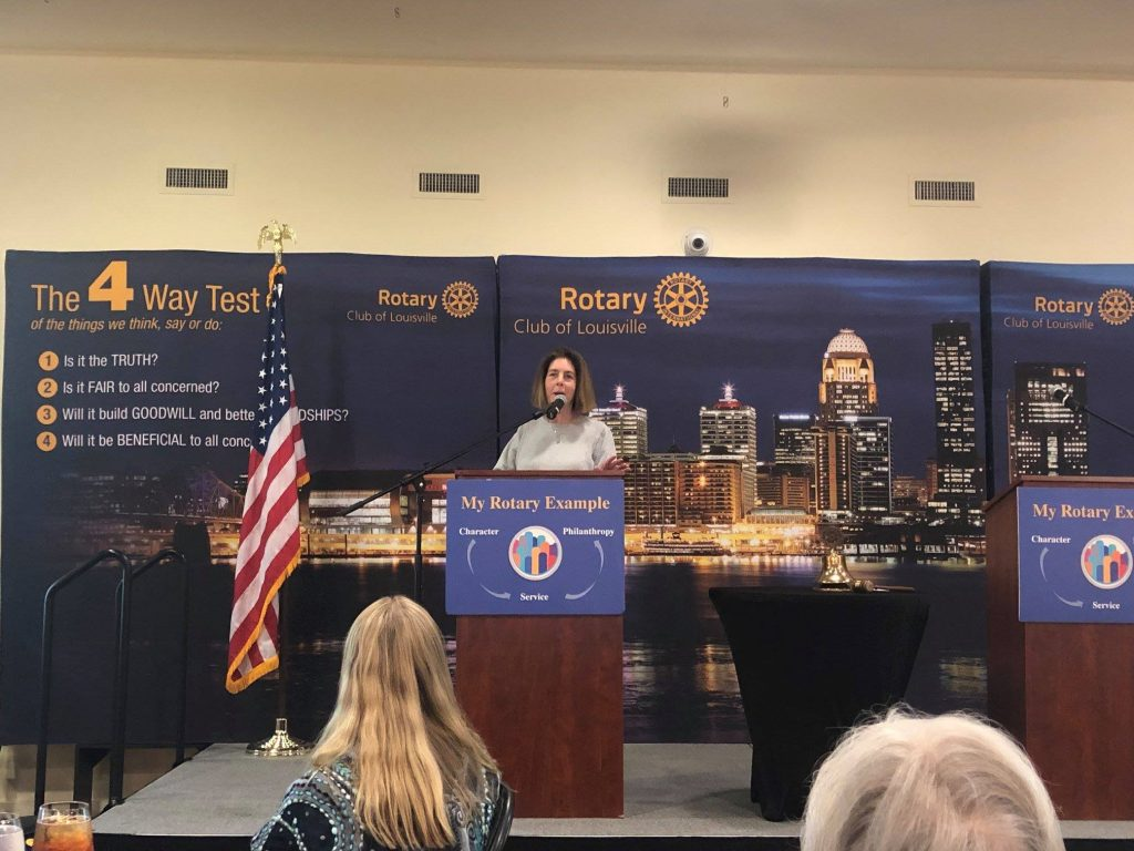 laura freeman at louisville rotary club