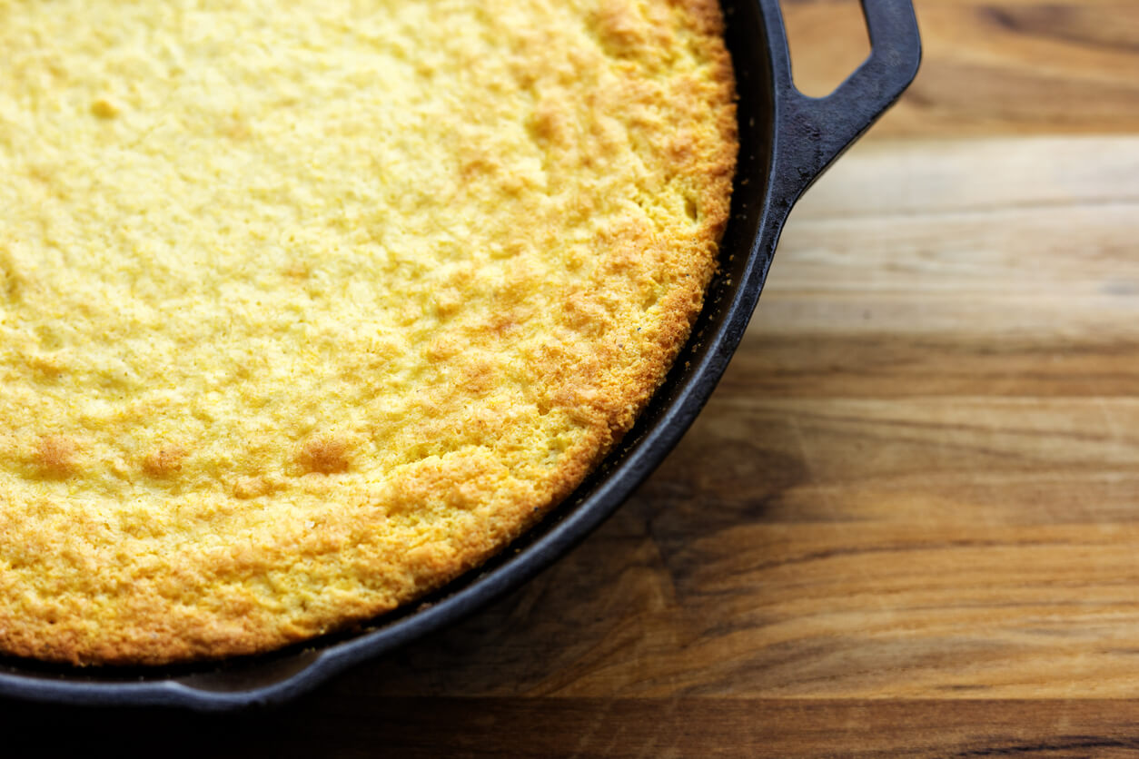 Cornbread made with organic heirloom cornmeal from Laura Freeman.