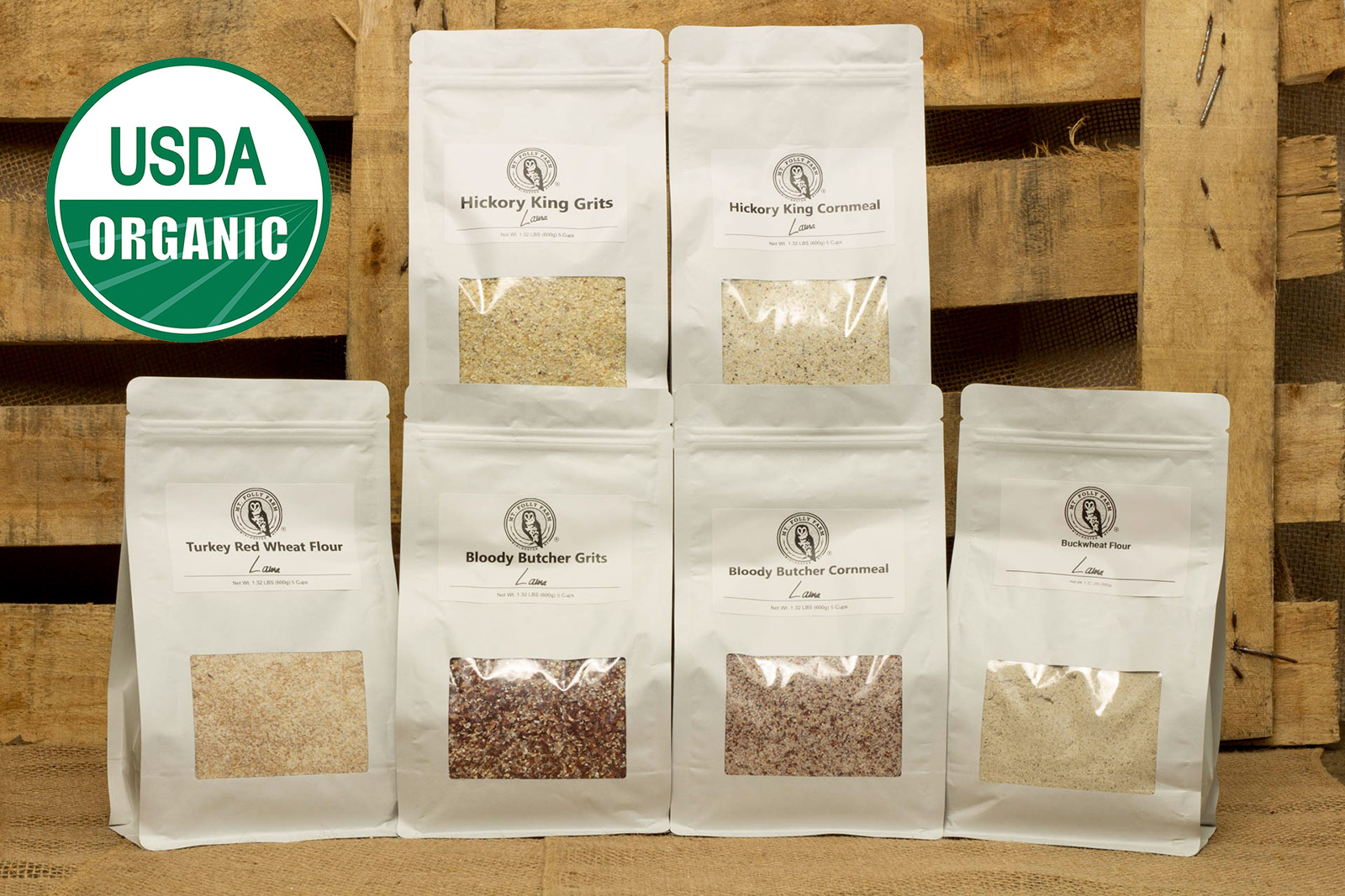 Organic heirloom grains, cornmeal, grits, and flour from Laura Freeman's Mt. Folly Farm.