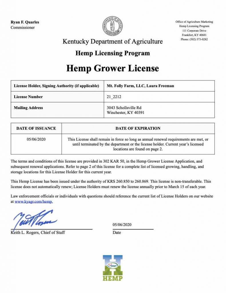 2020 Hemp Growers License