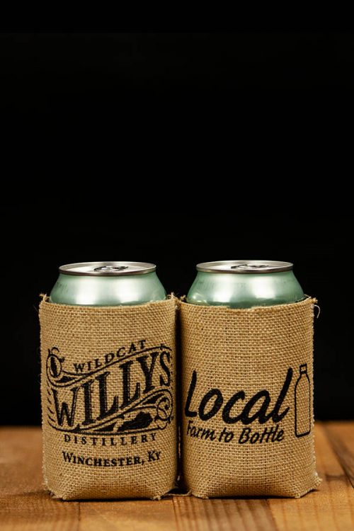 Wildcat Willy's Distillery Burlap Can Koozie